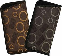 2 Pack Soft Eyeglass Slip Cases For Men & Women, Geometric S