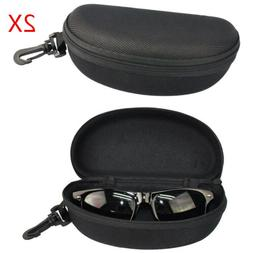 2PCS Portable Zipper Eye Glasses Sunglasses Clam Shell Hard