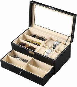 9 Slot Sunglasses Eyeglass Jewelry Case 6 Watch Box Storage