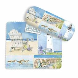 Beach Collage Art Scenes Eyeglass Case with Cleaning Cloth -