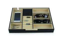 BLACK CARBON VALET TRAY GLASSES COINS KEYS PHONE CUFFLINK DE