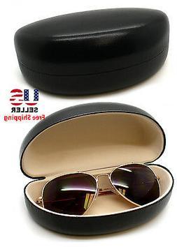 Black Hard Clam Shell Flux Leather Eyeglasses Eyewear Sungla