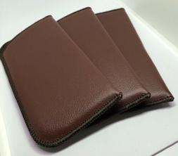 Brown Faux Leather Soft Slip-In Eyeglass Cases Qty 3