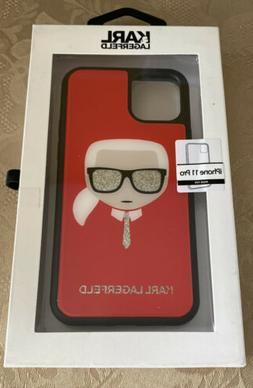 Karl Lagerfeld Eyeglass Glitter Case Red/Black for iPhone 11