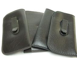 Eyeglasses Soft Cases With Pocket Clips Two Brown & Two Blac