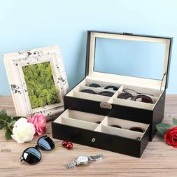 Eyeglasses Sunglasses Box 8/12 Compartments Leatherette Orga