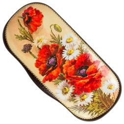 Hard Shell Eyeglasses / Shades Case w/ Poppies Red Flowers F