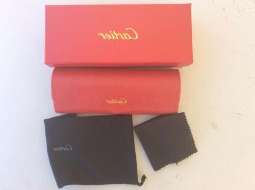 eyeglasses hard case box case red leather