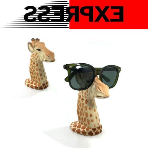 giraffe eyeglass holder stand carving wood sunglasses