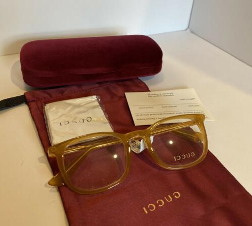 New GUCCI Gold Eyeglasses Optical Frame Case & Bee