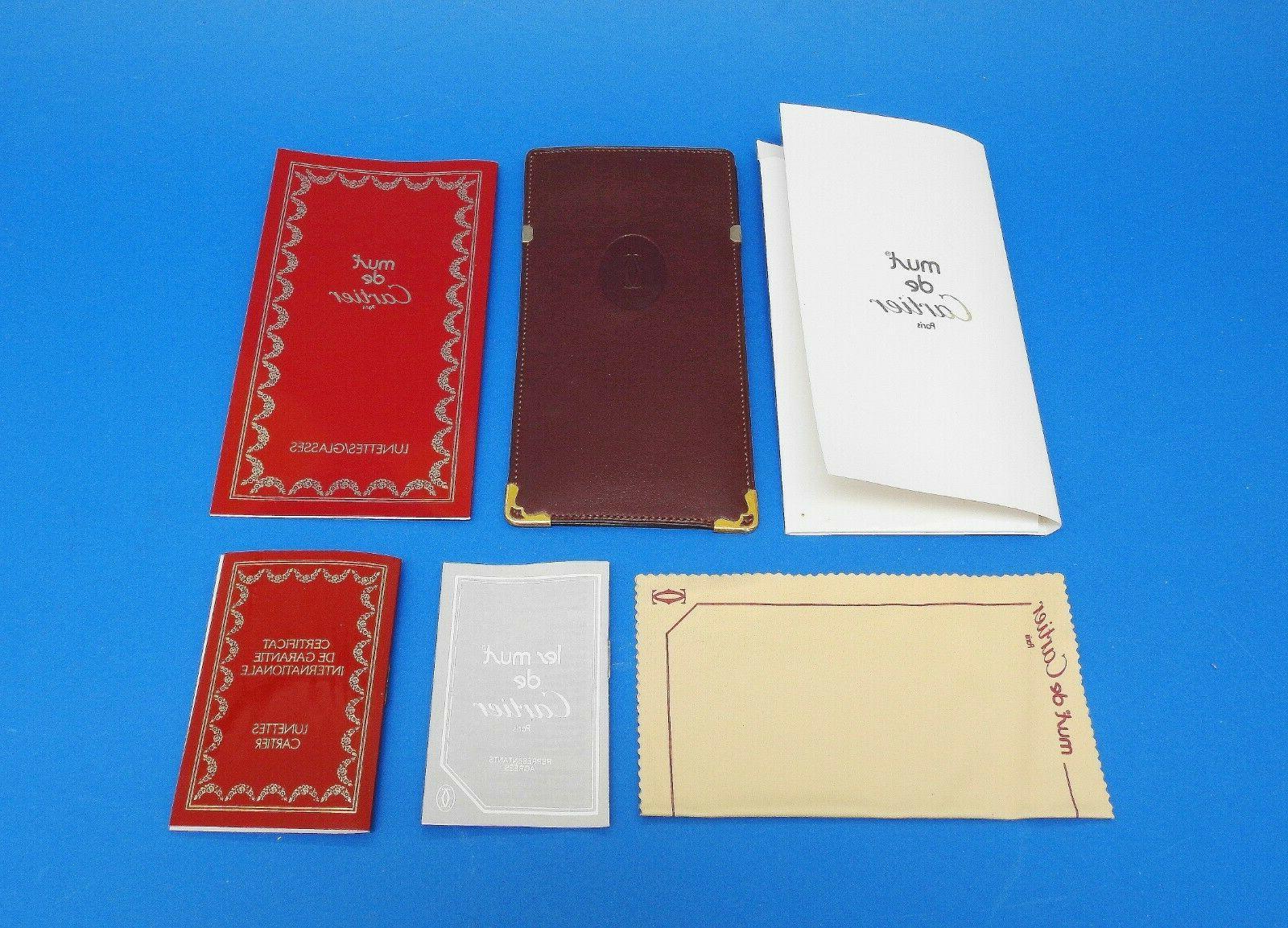 original bordeaux eyeglasses leather case w manuals