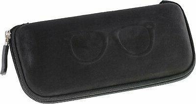 semi hard shell zippered eyeglass case clamshell