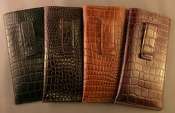 Leather embossed croco pattern Eyeglass / Glasses Case with