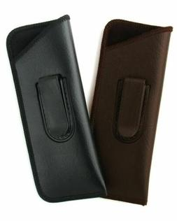Mens Slim Half-Clip Soft Eyeglass Case Soft Synth. Leather C