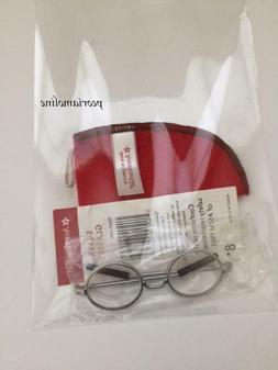 AMERICAN GIRL MOLLY'S Silver Round Meet Eye GLASSES~Red Felt