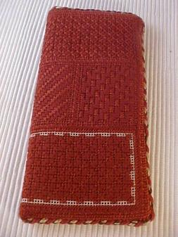 Needlepoint Eye Glasses Case Hand Crafted Brown Canvas Rust