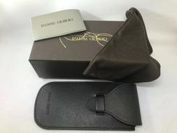 New Giorgio Armani Brown Leather Eyeglasses Slim Soft Case a