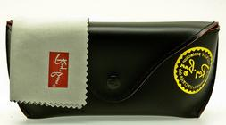 NEW RAY-BAN SUNGLASSES CASE & CLEANING CLOTH Hard Black Snap