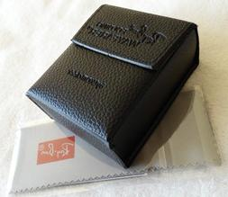 New RayBan Black Wayfarer Folding Sunglasses Case w/ cleanin