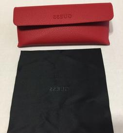 GUESS New Red leather Eyeglasses  CASE W/cleaning Cloth 100%