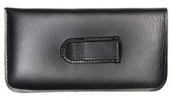 NEW Soft Eyeglasses Glasses Case Pouch Black with CLIP w/Cle