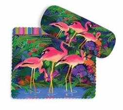 Pink Flamingo Paradise Eyeglass Case with Cleaning Cloth - 8