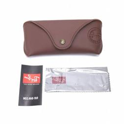 RAY BAN CRAFT Brown Leather Sunglasses Case + Cloth New