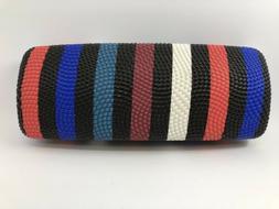 Striped Hard Clamshell Eyeglasses Case Black Red Blue White