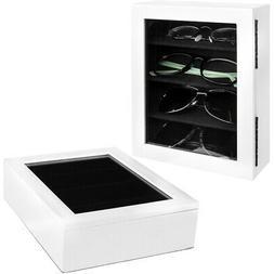 2pk White Eyeglasses Holder Storage Boxes Lidded Cases Soft