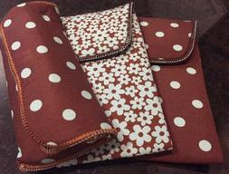 Women's Brown And Blue Soft Eyeglass Cases Qty 3